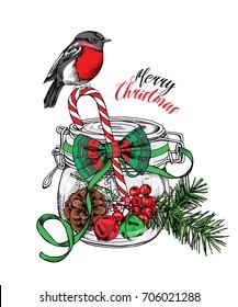 Christmas card. Mason jar with a pinecone, holly, bells, fir branch, lollipop, bow and with a Bullfinch Bird. Vector illustration.