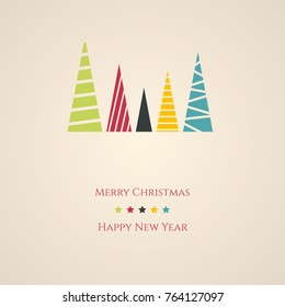 Christmas card with minimal Christmas trees. Merry Christmas and Happy New Year card.
