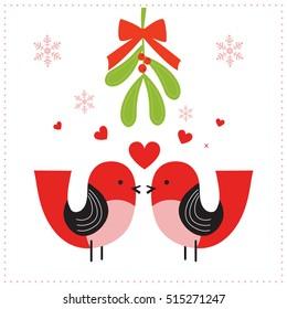Christmas card with mistletoe and sweet birds design