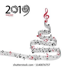 Christmas card. Musical christmas tree, background 2019. Vector Illustration
