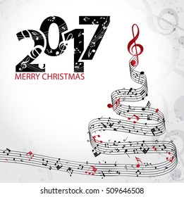 Christmas card. Musical christmas tree isolated on white background. Vector Illustration
