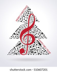 Christmas card. Musical tree isolated on white background. Vector Illustration