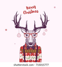 Christmas Card with Nerd Hipster Deer, Vector Illustration