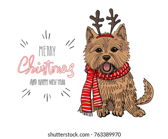 Christmas card. Norwich Terrier Dog in a striped scarf, in a horn deer mask. Vector illustration.