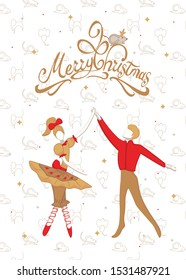 Christmas card with nutcracker ballet, princess, Mouse King, dancing cartoon Ballerina characters in yellow ballet skirts and man ballet dancer dressed in yellow tights and pointe making