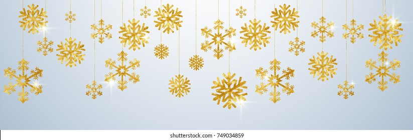 Christmas card with paper gold snow flake. Falling golden snowflakes on a transparent winter background. Vector illustration. Merry Christmas, New Year design. EPS 10.