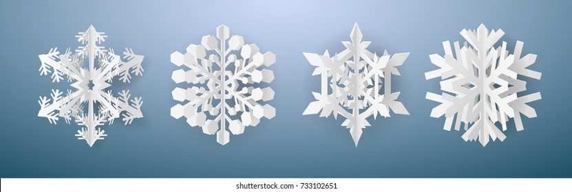 Christmas card with paper snow flake. Set of 4 snowflakes on a dark blue winter background. Vector illustration. Merry Christmas, New Year design. EPS 10.