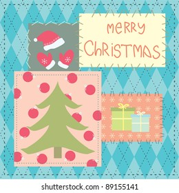 christmas card with patchwork
