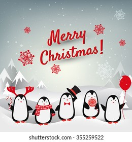 Christmas card with penguins. Vector background