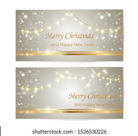 Christmas card. Perfect template for greetings. Holiday card with garlands and snowflakes.