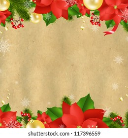 Christmas Card With Poinsettia With Gradient Mesh, Vector Illustration