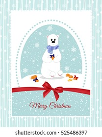 Christmas card with a polar bear, which decorate mandarins beautiful bows.