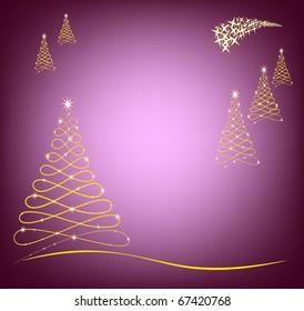Christmas Card in purple