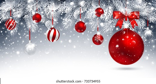 Christmas card with red balls and fir branches. Snowy sparkling background. Vector illustration