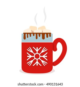 Christmas card Red cup of hot chocolate with marshmallows. Flat vector illustration isolate on a white background.