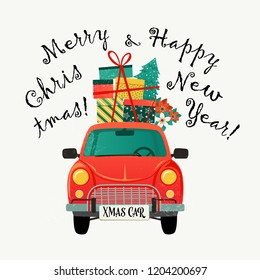 Christmas card. Red retro car with a fir tree and gifts. Vector illustration.