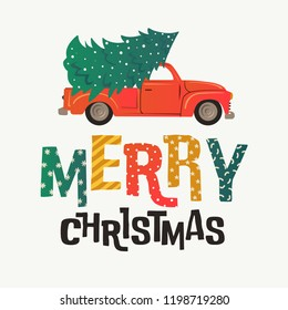 Christmas card. Red retro truck with a fir tree and gifts. Vector illustration.