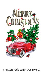 Christmas card. Red retro truck with a fir tree, gifts and a Snowman. Vector illustration.