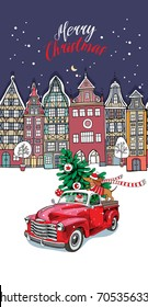 Christmas card. Red retro truck with a fir tree, gifts and the Dachshund in a scarf in the European city. Vector illustration.