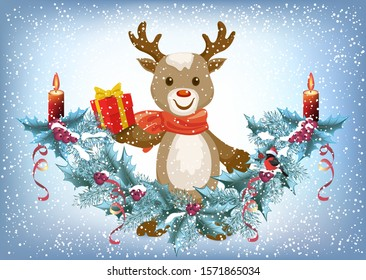 Christmas card with reindeer deer holding gift box and spruce garland with burning candle and bullfinch bird in Santa hat on the snowfall background in retro style