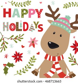 Christmas card with reindeer design