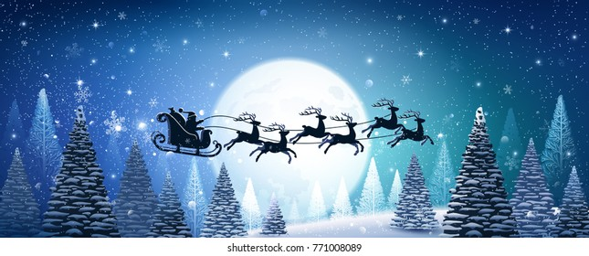 Christmas card with reindeer and Santa Claus on background of magic moon. Vector illustration