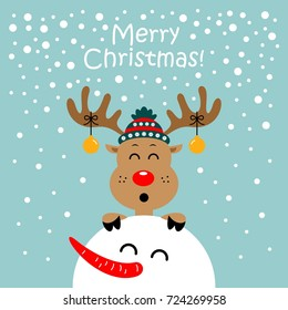 Christmas card with reindeer and snowman. Vector illustration