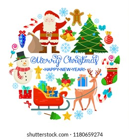 Christmas card with reindeer,snowman, balls ,gifts and other elements on white background.