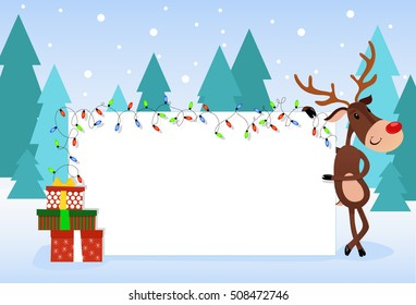 Christmas card with Rudolph reindeer, gift box and text space