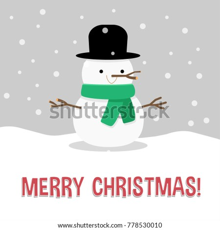 christmas card salutation with snowman illustration in flat style cute and happy - Christmas Card Salutations