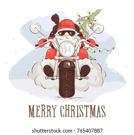 christmas card santa biker vector illustration santa claus on chopper with gifts - Biker Christmas