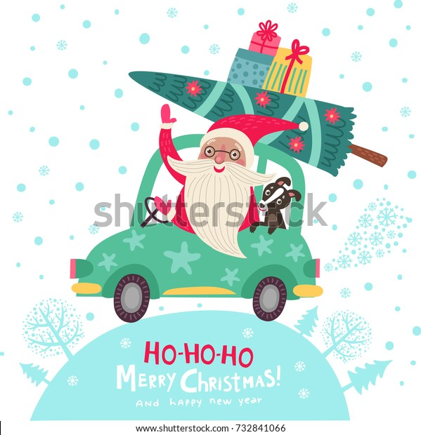 Christmas card. Santa Claus is by car. He travels with a dog. New Year's poster illustration