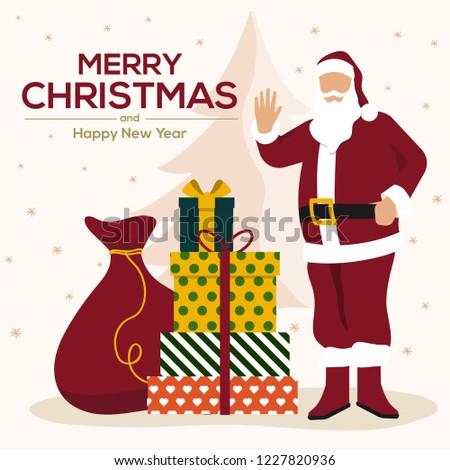 Huge Christmas Card.Christmas Card Santa Claus Huge Red Stock Vector Royalty Free