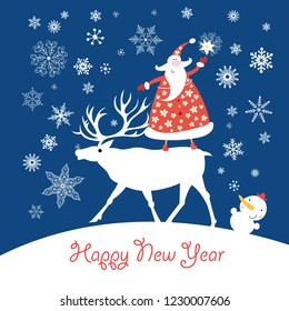 Christmas card with Santa Claus on a deer and a snowman on a dark background with snowflakes
