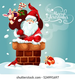 Christmas card with Santa Claus on the roof. Santa with gift bag full of present box, candy cane, holly berry and toy gets into the chimney. Merry Christmas festive poster design.