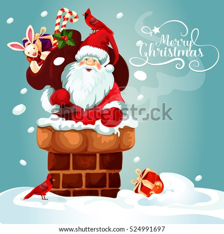 Christmas Card Santa Claus On Roof Stock Vector Royalty Free