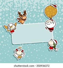 Christmas card with Santa Claus, reindeer, fairies and angel