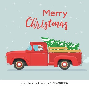 Christmas card. Santa Claus rides in old red retro pickup with christmas tree. Vintage flat vector illustration
