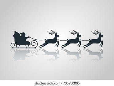 Christmas card. Santa Claus in a sleigh and a reindeer sleigh on a light background with a reflection. flat vector illustration