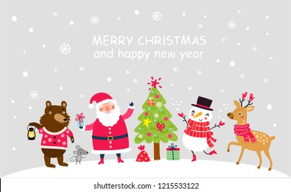 Christmas card with Santa and cute animals