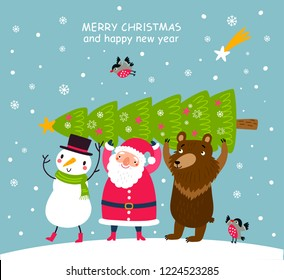 Christmas card Santa and cute animals