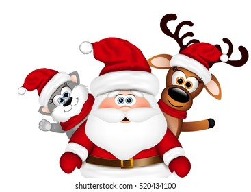 Christmas card. Santa with reindeer and cat.