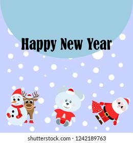 Christmas card, Santa snowman deer bear bag, vector background
