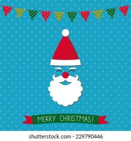 Christmas card with Santa and xmas decoration