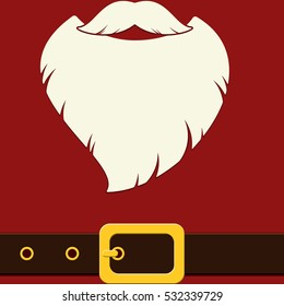 Christmas card with Santa's beard on red background. Flat vector illustration.