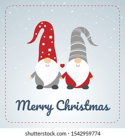Christmas card with Scandinavian gnomes couple. Happy cute little gnomes in red and grey hats, holding hands, snow in the background, Merry Christmas text. Vector illustration