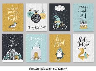 Christmas card set, hand drawn style. Vector illustration.
