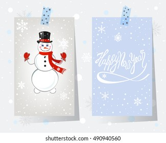 Christmas card set vector illustration. Cute snowman with a hat and hand drawn lettering Happy New Year.