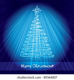 Christmas card with shining christmas tree on luminous blue background with rays of light - vector illustration