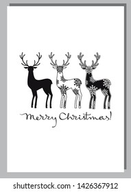 "Christmas card with a silhouette of a deer and an artistic drawing text:""Merry Christmas!"""